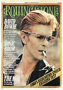 Rolling Stone Magazine Framed Prints - Rolling Stone Cover - Volume #206 - 2/12/1976 - David Bowie Framed Print by Steve Schapiro