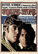 Magazine Metal Prints - Rolling Stone Cover - Volume #210 - 4/8/1976 - Robert Redford and Dustin Hoffman Metal Print by Stanley Tretick
