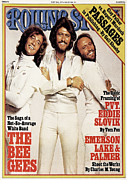 Bee Metal Prints - Rolling Stone Cover - Volume #243 - 7/14/1977 - Bee Gees Metal Print by Francesco Scavullo