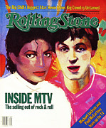 Jackson Prints - Rolling Stone Cover - Volume #410 - 12/8/1983 - Michael Jackson and Paul McCartney Print by Vivienne Fleisher