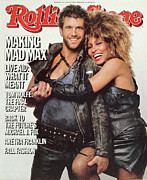 Tina Turner Prints - Rolling Stone Cover - Volume #455 - 8/29/1985 - Mel Gibson and Tina Turner Print by Herb Ritts
