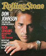 Featured Framed Prints - Rolling Stone Cover - Volume #460 - 11/7/1985 - Don Johnson Framed Print by Herb Ritts