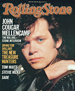John Photo Framed Prints - Rolling Stone Cover - Volume #466 - 1/30/1986 - John Cougar Mellencamp Framed Print by Herb Ritts