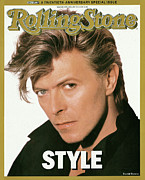 David Metal Prints - Rolling Stone Cover - Volume #498 - 4/23/1987 - David Bowie Metal Print by Herb Ritts