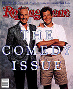 Johnny Carson Art - Rolling Stone Cover - Volume #538 - 11/3/1988 - Johnny Carson and David Letterman by Bonnie Schiffman
