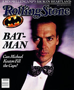 Keaton Prints - Rolling Stone Cover - Volume #555 - 6/29/1989 - Michael Keaton Print by Bonnie Schiffman