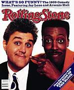 Hall Framed Prints - Rolling Stone Cover - Volume #564 - 11/2/1989 - Jay Leno and Arsenio Hall Framed Print by Bonnie Schiffman