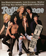 Music Tapestries Textiles Metal Prints - Rolling Stone Cover - Volume #612 - 9/5/1991 - Guns n Roses Metal Print by Herb Ritts