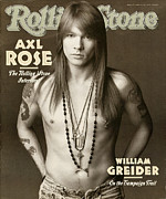Floral Framed Prints - Rolling Stone Cover - Volume #627 - 4/2/1992 - Axl Rose Framed Print by Herb Ritts