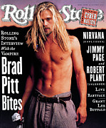Rolling Stone Magazine Framed Prints - Rolling Stone Cover - Volume #696 - 12/1/1994 - Brad Pitt Framed Print by Mark Seliger