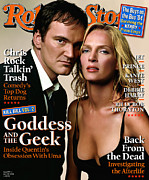 Quentin Framed Prints - Rolling Stone Cover - Volume #947 - 4/29/2004 - Quentin Tarantino and Uma Thurman Framed Print by Albert Watson