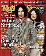 White Metal Prints - Rolling Stone Cover - Volume #982 - 9/8/2005 - White Stripes Metal Print by Martin Schoeller