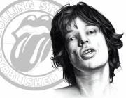 Band Drawings Prints - Rolling Stones Mick Jagger Drawing Print by Lee Appleby