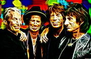 Musicians Mixed Media Framed Prints - Rolling Stones Mystical Framed Print by Paul Van Scott