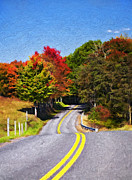 Road Travel Framed Prints - Rolling Thru West Virginia impasto Framed Print by Steve Harrington