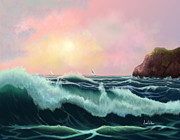 Beach Scenes Digital Art - Rolling Waves by Sena Wilson