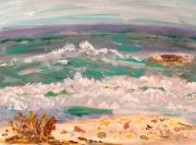 Primitive Drawings - Rolling Waves Shells Beach by Mary Carol Williams
