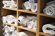 Rolls Of Blueprints In Cubbyholes Print by Jetta Productions, Inc