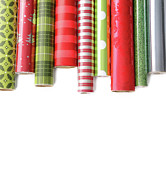 Happy Birthday Prints - Rolls of colored wrapping  paper on white3 Print by Sandra Cunningham
