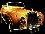 Import Cars Digital Art Prints - Rolls Royce Gold Print by Wingsdomain Art and Photography