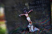Tombstone Photos - Roman and Crucifix by Susan Isakson