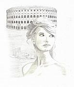 Pencil Drawing Framed Prints - Roman Beauty-Taylor Swift Framed Print by Jose Valeriano