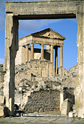 Roman Archaeology Prints - Roman Capitol At Dougga, Tunisia Print by Sheila Terry