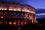 Roman Photo Prints - Roman Colosseum at Night Print by Traveler Scout