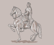Horse Drawing Framed Prints - Roman emperor riding horse Framed Print by Aloysius Patrimonio