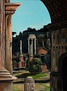 Roman Columns Painting Prints - Roman Forum Print by Nancy Bradley