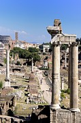 Old Ruin Metal Prints - Roman forum. Rome Metal Print by Bernard Jaubert