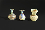 Roman Vase Prints - Roman glass bottles and jar Print by Ilan Amihai