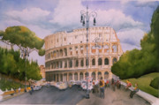 Cityscape Paintings - Roman Holiday- Colosseum by Leah Wiedemer