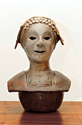 Lady Sculptures - Roman mask torso lady with head cover face eyes large nose mouth shoulders by Rachel Hershkovitz