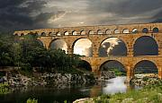 France Prints - Roman Pont Du Gard Print by Carver Kearney