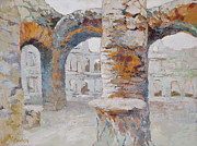 Italian Landscapes Prints - Roman Relicts Arches Print by Ekaterina Mortensen