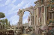 Statue Paintings - Roman ruins by Guido Borelli