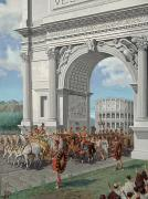Group Of Horses Posters - Roman Soldiers Lead Chained Captives Poster by H.M. Herget