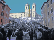 Tourists Attraction Prints - Roman Spanish Steps Print by Al Bourassa