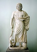 Greek Sculpture Posters - Roman Statue Of Asclepius Poster by Sheila Terry
