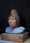 Archaeology Sculpture Ceramics Prints - Roman Warrior Roemer - Roemer Nettersheim Eifel - Military of ancient Rome - Bust - Romeinen Print by Urft Valley Art