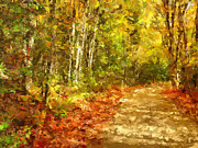 Autumn Landscape Mixed Media Posters - Romance In Autumn Poster by Zeana Romanovna