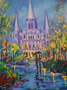 Louis Paintings - Romance in Jackson Square by Elaine Cummins