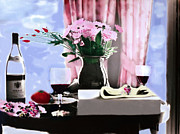 Wine Glasses Digital Art Posters - Romance In The Afternoon 2 Poster by Madeline Ellis