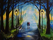 Lighted Pathway Prints - Romance In The Air Print by Leslie Allen