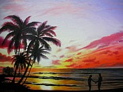 Tropical Sunset Prints - Romance of a tropical sunset Print by Yulia Litvinova