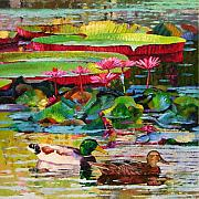 Mallard Ducks Paintings - Romancing Among the Lilies by John Lautermilch