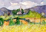 Romania Paintings - Romanian Landscape Mtii Apuseni by Ion Danu