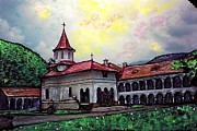 Christian Mixed Media Framed Prints - Romanian Monastery Framed Print by Sarah Loft