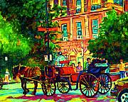Montreal Landmarks Paintings - Romantic Carriage Ride by Carole Spandau